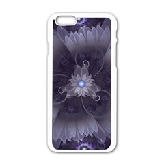 Amazing Fractal Triskelion Purple Passion Flower Apple Iphone 6/6s White Enamel Case by beautifulfractals