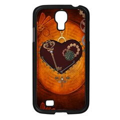 Steampunk, Heart With Gears, Dragonfly And Clocks Samsung Galaxy S4 I9500/ I9505 Case (black) by FantasyWorld7