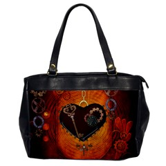 Steampunk, Heart With Gears, Dragonfly And Clocks Office Handbags by FantasyWorld7