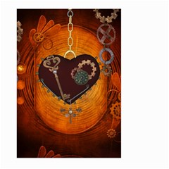 Steampunk, Heart With Gears, Dragonfly And Clocks Large Garden Flag (two Sides) by FantasyWorld7