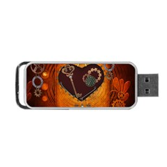 Steampunk, Heart With Gears, Dragonfly And Clocks Portable USB Flash (Two Sides)