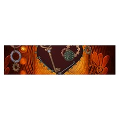Steampunk, Heart With Gears, Dragonfly And Clocks Satin Scarf (oblong) by FantasyWorld7