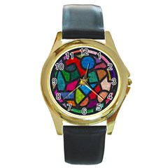 Stained Glass Color Texture Sacra Round Gold Metal Watch by BangZart