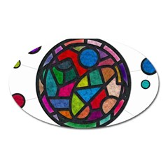 Stained Glass Color Texture Sacra Oval Magnet by BangZart