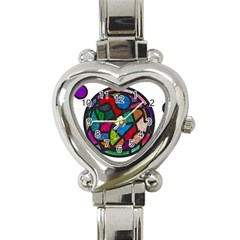 Stained Glass Color Texture Sacra Heart Italian Charm Watch by BangZart