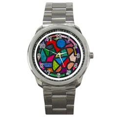 Stained Glass Color Texture Sacra Sport Metal Watch by BangZart