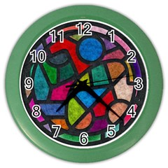 Stained Glass Color Texture Sacra Color Wall Clocks by BangZart