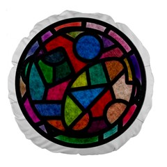 Stained Glass Color Texture Sacra Large 18  Premium Flano Round Cushions by BangZart