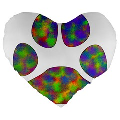 Paw Large 19  Premium Heart Shape Cushions by BangZart