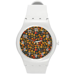 Pattern Background Ethnic Tribal Round Plastic Sport Watch (m) by BangZart