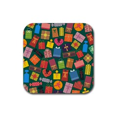 Presents Gifts Background Colorful Rubber Coaster (square)  by BangZart