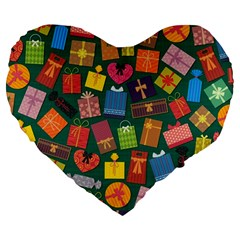 Presents Gifts Background Colorful Large 19  Premium Heart Shape Cushions by BangZart