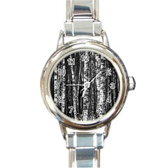 Birch Forest Trees Wood Natural Round Italian Charm Watch by BangZart