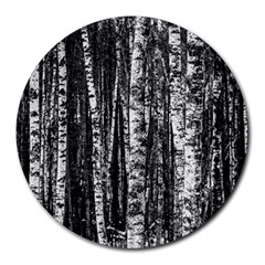 Birch Forest Trees Wood Natural Round Mousepads by BangZart
