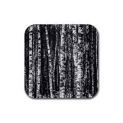 Birch Forest Trees Wood Natural Rubber Coaster (square)  by BangZart