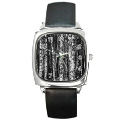 Birch Forest Trees Wood Natural Square Metal Watch by BangZart