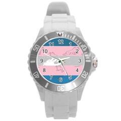 Pride Flag Round Plastic Sport Watch (l) by TransPrints
