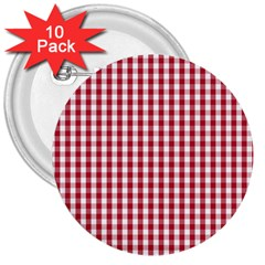 Usa Flag Red Blood Large Gingham Check 3  Buttons (10 Pack)  by PodArtist