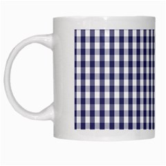 Usa Flag Blue Large Gingham Check Plaid  White Mugs by PodArtist
