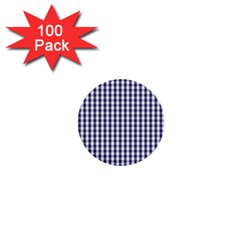 Usa Flag Blue Large Gingham Check Plaid  1  Mini Buttons (100 Pack)  by PodArtist
