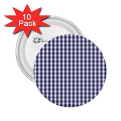 Usa Flag Blue Large Gingham Check Plaid  2 25  Buttons (10 Pack)  by PodArtist