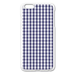 Usa Flag Blue Large Gingham Check Plaid  Apple Iphone 6 Plus/6s Plus Enamel White Case by PodArtist