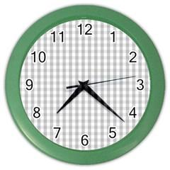 Christmas Silver Gingham Check Plaid Color Wall Clocks by PodArtist