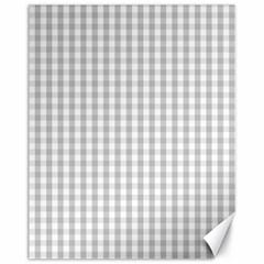 Christmas Silver Gingham Check Plaid Canvas 11  X 14   by PodArtist