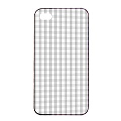Christmas Silver Gingham Check Plaid Apple Iphone 4/4s Seamless Case (black) by PodArtist