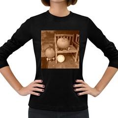 Pumpkins And Gourds Sepia Women s Long Sleeve Dark T-Shirts