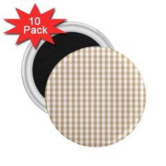 Christmas Gold Large Gingham Check Plaid Pattern 2 25  Magnets (10 Pack)  by PodArtist