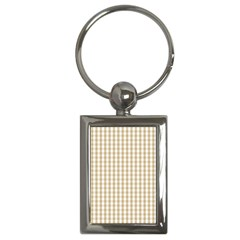 Christmas Gold Large Gingham Check Plaid Pattern Key Chains (rectangle)  by PodArtist