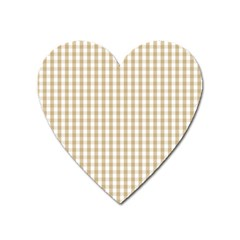 Christmas Gold Large Gingham Check Plaid Pattern Heart Magnet by PodArtist
