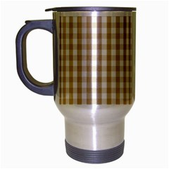 Christmas Gold Large Gingham Check Plaid Pattern Travel Mug (silver Gray) by PodArtist