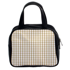 Christmas Gold Large Gingham Check Plaid Pattern Classic Handbags (2 Sides) by PodArtist