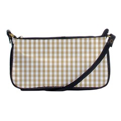 Christmas Gold Large Gingham Check Plaid Pattern Shoulder Clutch Bags by PodArtist
