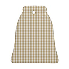 Christmas Gold Large Gingham Check Plaid Pattern Bell Ornament (two Sides) by PodArtist