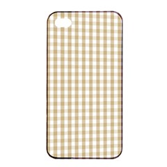 Christmas Gold Large Gingham Check Plaid Pattern Apple Iphone 4/4s Seamless Case (black) by PodArtist