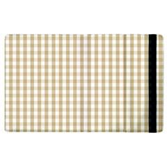 Christmas Gold Large Gingham Check Plaid Pattern Apple Ipad 2 Flip Case by PodArtist