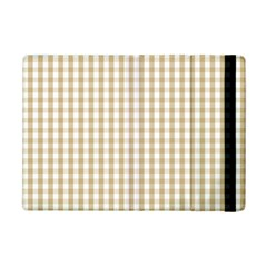 Christmas Gold Large Gingham Check Plaid Pattern Ipad Mini 2 Flip Cases by PodArtist