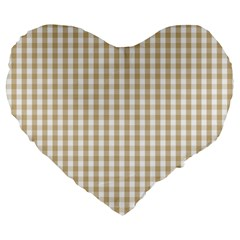 Christmas Gold Large Gingham Check Plaid Pattern Large 19  Premium Flano Heart Shape Cushions by PodArtist