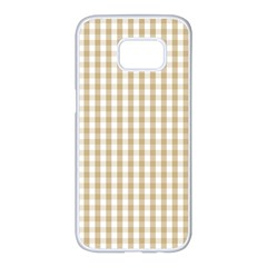 Christmas Gold Large Gingham Check Plaid Pattern Samsung Galaxy S7 Edge White Seamless Case by PodArtist