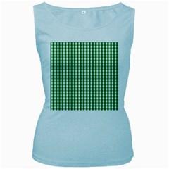 Christmas Green Velvet Large Gingham Check Plaid Pattern Women s Baby Blue Tank Top by PodArtist