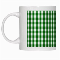 Christmas Green Velvet Large Gingham Check Plaid Pattern White Mugs by PodArtist