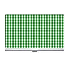 Christmas Green Velvet Large Gingham Check Plaid Pattern Business Card Holders by PodArtist