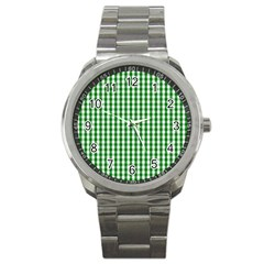 Christmas Green Velvet Large Gingham Check Plaid Pattern Sport Metal Watch by PodArtist