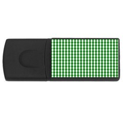 Christmas Green Velvet Large Gingham Check Plaid Pattern Usb Flash Drive Rectangular (4 Gb) by PodArtist