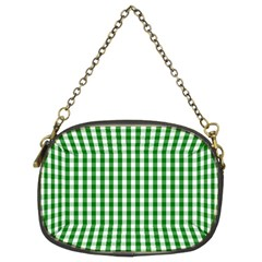 Christmas Green Velvet Large Gingham Check Plaid Pattern Chain Purses (two Sides)  by PodArtist
