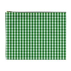 Christmas Green Velvet Large Gingham Check Plaid Pattern Cosmetic Bag (xl) by PodArtist