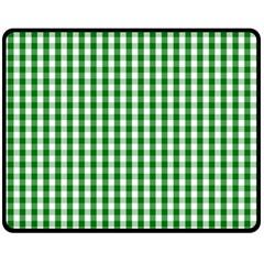 Christmas Green Velvet Large Gingham Check Plaid Pattern Fleece Blanket (medium)  by PodArtist